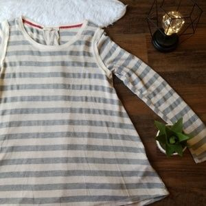 Rewind Grey Cream Striped Lace Long Sleeve Top